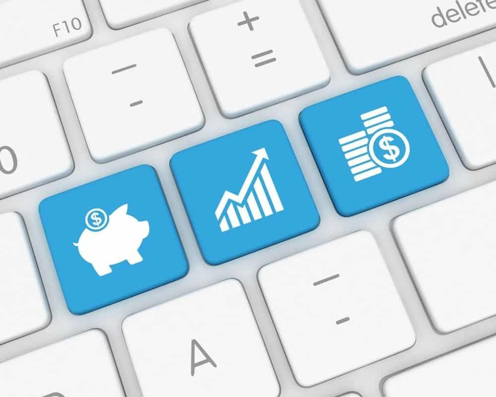 Tangentbord med knappar för sparande, investerande och banktjänster