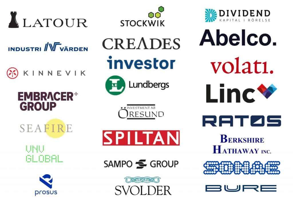 Bild på logotyper från många olika investmentbolag