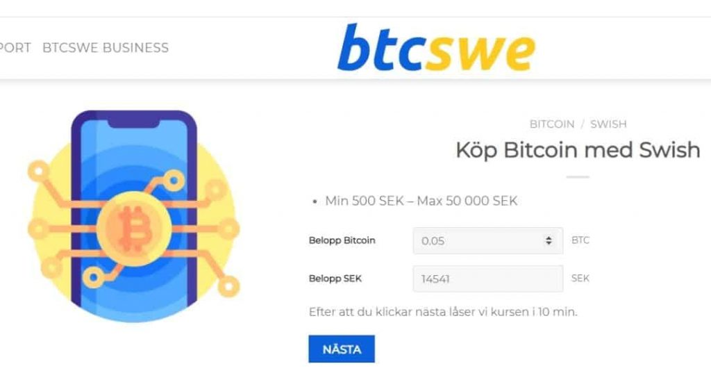 Screenshot från handel med Bitcoin hos BTCSWE