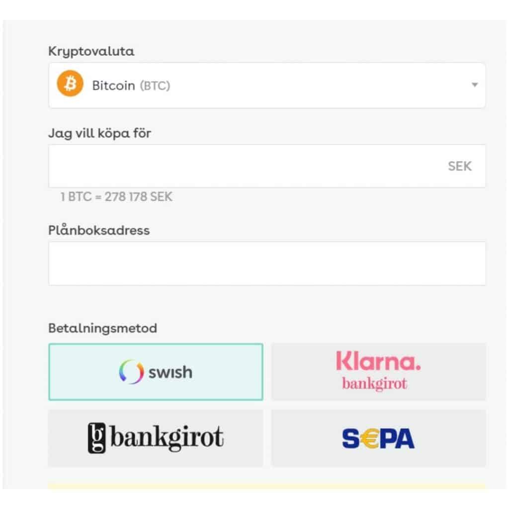 Screenshot från handel med Safello